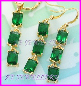 """AS237F EMERALD OCTAGON CUT 18k YELLOW GOLD PLATED PENDANT EARRINGS SET 16"""" NECKLACE"""