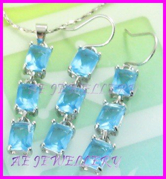 "AS238F BLUE TOPAZ OCTAGON CUT 18K WHITE GOLD PLATED PENDANT EARRINGS SET 16"" NECKLACE"