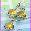 AS248F 13MM Lemon Quartz Round Cut 18K White Gold Plated Pendant Necklace Earrings Set 16""
