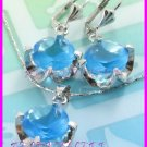 AS251F 13MM Blue Topaz Round Cut 18K White Gold Plated Pendant Necklace Earrings Set 16""
