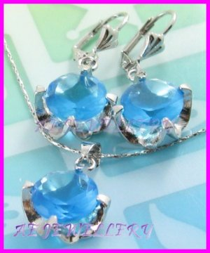 """AS251F 13MM Blue Topaz Round Cut 18K White Gold Plated Pendant Necklace Earrings Set 16"""""""