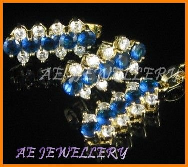 """AS034F Blue Sapphire White Topaz 18K Yellow Gold Plated Pendant Necklace Earrings Set 16"""""""