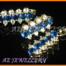 AS034F Blue Sapphire White Topaz 18K Yellow Gold Plated Pendant Necklace Earrings Set 16""