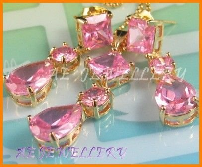 """AS114F Pink Sapphire Octagon Pear Round Cut 18K Yellow Gold Plated Pendant Necklace Earrings Set 16"""""""