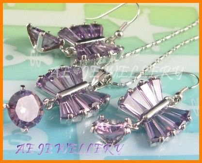 """AS133F Amethyst Round Octagon Cut 18K White Gold Plated Pendant Necklace Earrings Set 16"""""""