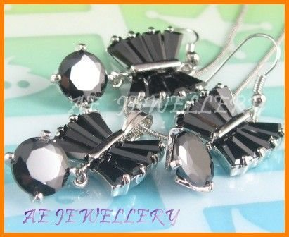 AS134F Black Sapphire Round Octagon Cut 18K White Gold Plated Pendant Necklace Earrings Set 16""