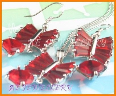 """AS136F Ruby Round Octagon Cut 18K White Gold Plated Pendant Necklace Earrings Set 16"""""""