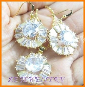AS139F Topaz White Topaz Round Octagon Cut 18K Yellow Gold Plated Pendant Necklace Earrings Set 16""