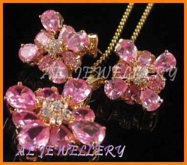 AS142F Pink Sapphire White Topaz 18K Yellow Gold Plated Pendant Necklace Earrings Set 16""