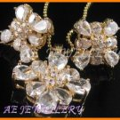 AS143F White Topaz Round Pear Cut 18K Yellow Gold Plated Pendant Necklace Earrings Set 16""