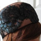 Vintage Lgt Brown Fabric/Feathers Pillbox Women Hat XS