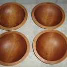 Vintage Wood Oval 4 Individual Salad Bowl Baribocraft  60's