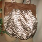 Hobo Bag Purse Boho RECYCLED Leopard and Python SATIN Handy Pockets