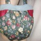 Hobo Bag Purse Boho RECYCLED Vintage Wool Satin Floral HANDY POCKETS