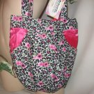 Hobo Bag Purse Boho RECYCLED Leopard Rose and Pink Satin HANDY POCKETS