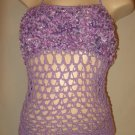 Crochet Corset Halter Top LACING Lavender Lacing Fluffy