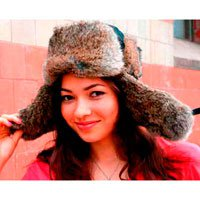 Women's Brown Rabbit Fur Hat (M)