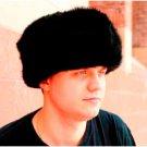 Black Rabbit Fur Bomber Hat (Ushanka) (XL)