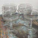 "4 Vintage Glass Dessert Cups Laser Cut Monogram ""C"""