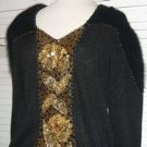 Black Knit Sweater Angora Sleeves Gold Glitter .... FREE SHIPPING!