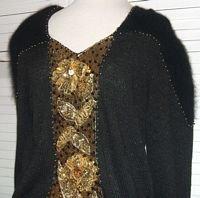 Black Knit Sweater Angora Sleeves Gold Glitter .... FREE SHIPPING!