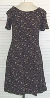 Dark Blue Floral Mini Dress Stretch Rayon D.B.Y. Ltd Size 9 / 10