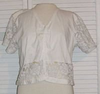 Cropped White Cotton Button Shirt Lace Sleeves Wrapper Size L Large..