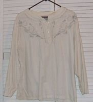 White Cotton Long Sleeved Blouse Embroidered by Spiegel Together! Size XL...