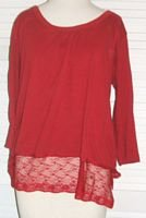 Red Cotton Shirt Top w/ Lace Trim by Self Esteem Size 18 / 20...