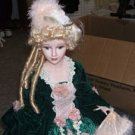 Collectible Porcelain Doll Victorian Lady Velvet Dress w/ Stand SMC 1993