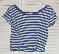 Cropped Blue Striped Cotton Stretch Shirt Size S Small