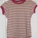 Burgundy Green Striped Cotton Shirt Size XL