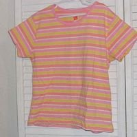 Pink Yellow Striped T Shirt by Hanes Size 12