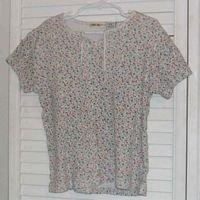Floral Ribknit Cotton Shirt by Cherokee Sz 10 / 12