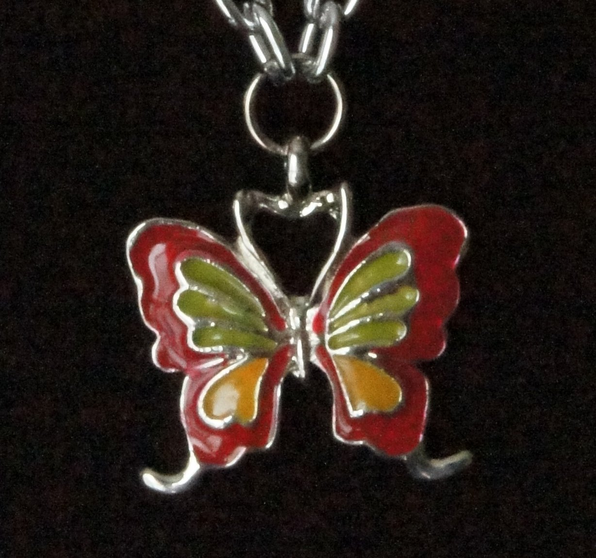Simplicity Necklace- Butterfly with Green Pearls