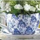 Blue Floral Teacup Planter