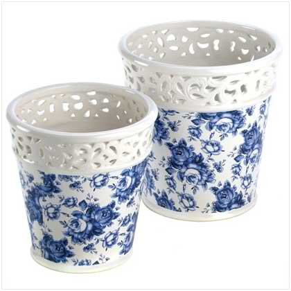 Blue Floral Planter Duo