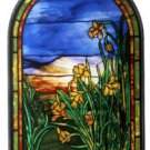 "Tiffany Style Yellow ""DAFFODILS"" Stained Art Glass Window Panel Wall Hanging"