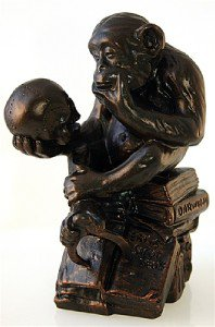 PHILOSOPHIZING MONKEY with SKULL STATUE SCULPTURE 1892-93 RHEINHOLD BRONZE NEW