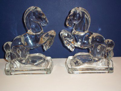 PAIR (Two) New Martinsville CRYSTAL CLEAR GLASS REARING HORSE BOOKENDS 1940's