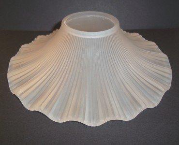 Mosser Handmade Glass CRYSTAL SATIN Petticoat SHADE for Small OIL LAMP New USA!