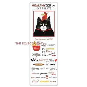 Black Tuxedo Cat & Cardinal Bird Cotton Flour Sack Towel with Cat Treat Recipe