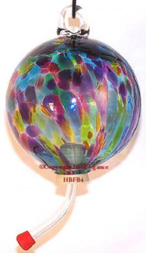 EUROPEAN ART GLASS MULTI RAINBOW HANDBLOWN HUMMINGBIRD NECTAR FEEDER with HANGER