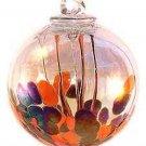 "4"" EUROPEAN ART GLASS OPAL ORANGE & BLACK IRIDIZED MEDUSA SPIRIT WITCH BALL KUGEL"