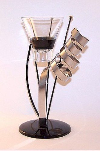 """EUROPEAN MADE CONTEMPORARY """"CELEBRATION"""" CANDLE HOLDER JET BLACK STAINLESS STEEL MODERNISTIC"""