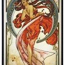 ALPHONSE MUCHA - THE ARTS: DANCE - STAINED GLASS PANEL ART NOUVEAU MAIDEN 1898