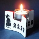 Albert Dubout France Cat Cats In A Row L'alignment Ceramic Tealight Candle Holder