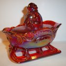 Mosser Glass RUBY RED CARNIVAL CHRISTMAS SANTA SLEIGH Covered Candy Dish Bowl