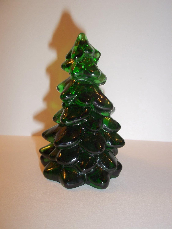 "Mosser Glass EMERALD GREEN 2.75"" CHRISTMAS TREE Figurine HOLIDAY DECORATION"