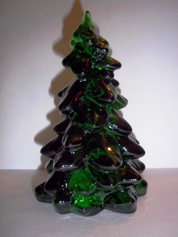 "Mosser Glass EMERALD GREEN 5.5"" CHRISTMAS TREE Figurine HOLIDAY DECORATION"